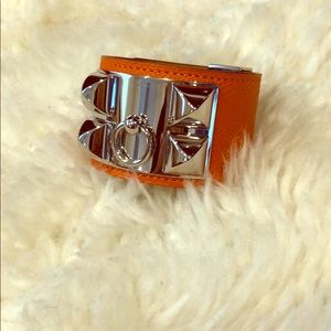 Auth orange Hermès Epsom Collier de Chien bracelet